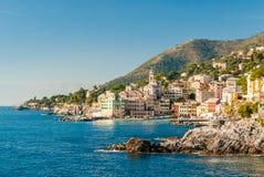 Panoramic view of Bogliasco, small sea village near Genoa northern Italy Royalty Free Stock Photography