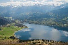 Panoramic view on Bohinj lake, Slovenia Stock Images