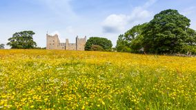 Bolton Castle in North Yorkshire. A panoramic view of Bolton Castle - a 14th-century castle located in Wensleydale, North Yorkshire, in England - from outside stock photos