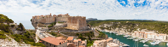 Panoramic View of Bonifacio old town built on top of cliff rocks Royalty Free Stock Images