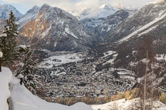 Panoramic view of bormio, italy Stock Photography