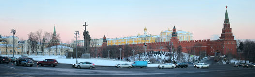 Panoramic view of Borovitskaya Square and monument to the prince Royalty Free Stock Photography