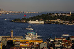 Panoramic view of Bosphorus from Galata Tower Stock Image
