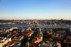 Panoramic view of Bosphorus from Galata Tower Stock Photo