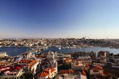 Panoramic view of Bosphorus from Galata Tower Royalty Free Stock Photos