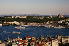 Panoramic view of Bosphorus from Galata Tower Royalty Free Stock Photography