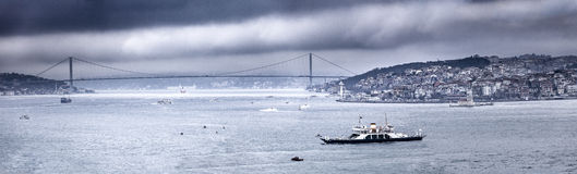 Panoramic view of Bosphorus strait from Topkapi palace, Istanbul Stock Photography