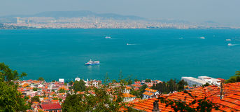 Panoramic view of Bosporus canal. Heybeliada island. Turkey Royalty Free Stock Images