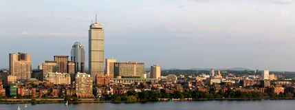 Panoramic View of Boston Back Bay and Brookline. Panoramic view of the Boston, MA riverfront neigborhoods of Back Bay and Brookline, including the landmark Royalty Free Stock Photo