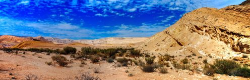 Holy land Series - The Big Crater HaMakhtesh Gadol 6. A panoramic view of the bottom Big Crater Hamakhtesh Hagadol in the Negev. Here is what Wikipedia has Royalty Free Stock Photo