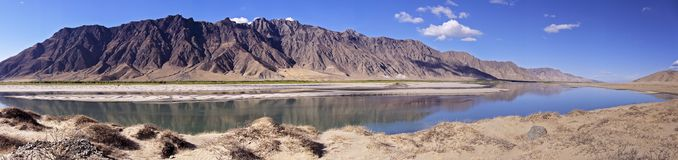 Panoramic view of Brahmaputra river and mountain landscape - Tibet Royalty Free Stock Image