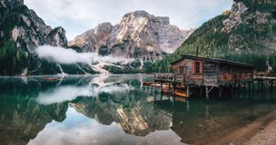 Panoramic view of Braies Lake in Dolomites, Italy Royalty Free Stock Photo