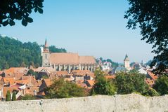 Panoramic view of Brasov medieval old town and walls from Tampa Stock Images
