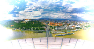 Panoramic view with the Bratislava castle and old town Royalty Free Stock Image