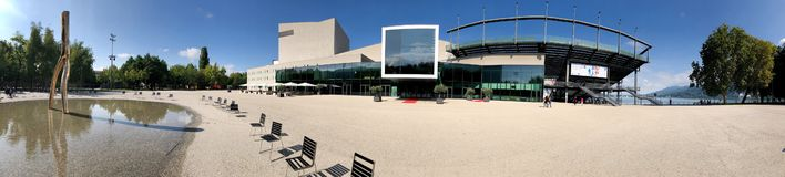 Panoramic view of the Bregenz Opera House Stock Photography