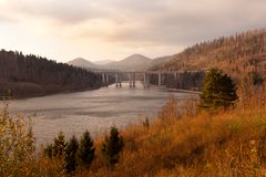 Panoramic view on bridge in the fall royalty free stock photos