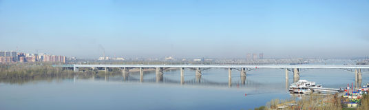 Panoramic view of the bridge Oktyabrskiy over Ob river Royalty Free Stock Image
