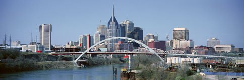 Panoramic view of bridge over Cumberland River and Nashville Skyline, TN Stock Photos