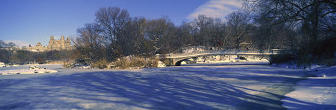 Panoramic view of bridge over frozen pond in Central Park, Manhattan, NY on upper west side near Central Park West Royalty Free Stock Photography