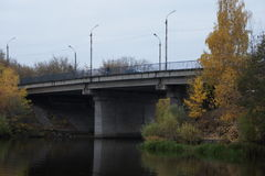 Panoramic view of the bridge over the river Comarca in the provincial town of Kimry in Tver region. Road bridge over the river Circa royalty free stock image