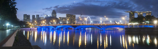 Panoramic view of a bridge at Singapore Stock Photos