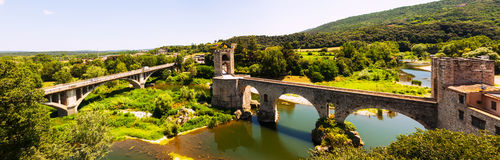 Panoramic view of  bridgee in Besalu Royalty Free Stock Image
