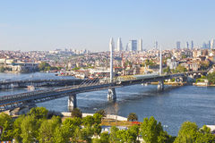 Panoramic view of the bridges over the Golden horn Bay. Stock Photography