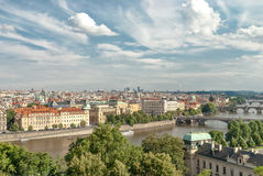 Panoramic view of the bridges over Moldava river, Prague Royalty Free Stock Photo