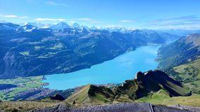 Panoramic view of Brienz and the stunning view of mountain range in a beautiful day, Switzerland Stock Photography