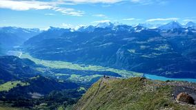 Panoramic view of Brienz and the stunning view of mountain range in a beautiful day, Switzerland Royalty Free Stock Image