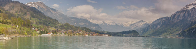 Panoramic view on Brienzersee lake - Switzerland. Stock Photography