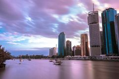Panoramic view on Brisbane stock image