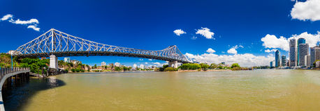 Panoramic view of Brisbane Skyline and Story Bridge. BRISBANE, AUS - NOV 13 2015: Panoramic view of Brisbane Skyline with Story Bridge and the river. It is Stock Images