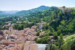 Panoramic view of Brisighella. Emilia-Romagna. Ita stock photo