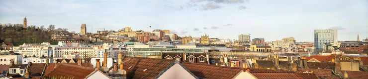 Panoramic view of Bristol centre skyline, England royalty free stock images