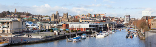 Panoramic View of Bristol from the Harbour Stock Images