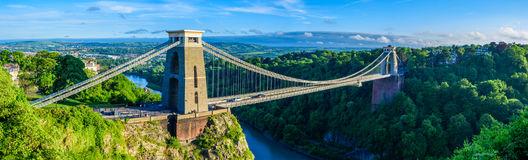 Panoramic view of Bristol suspension bridge at sunset. Showing the bridge, avon gorge, forest an houses Stock Images
