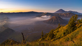 Panoramic view of Bromo mountain in the morning sunrise Stock Image