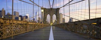 Panoramic view of Brooklyn Bridge Royalty Free Stock Image