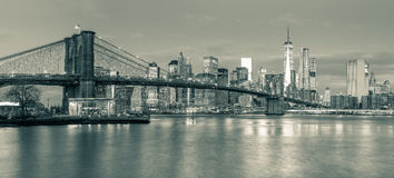 Panoramic view of  Brooklyn Bridge and Manhattan in New York Cit. Panoramic view of  Brooklyn Bridge and Manhattan skyline in New York City at morning with city Stock Photography
