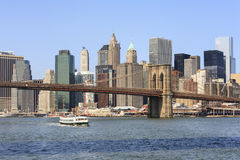 Panoramic view of Brooklyn Bridge and Manhattan, NYC Stock Photos