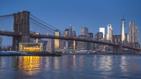 Timelapse of Brooklyn bridge and Manhattan at sunrise stock footage