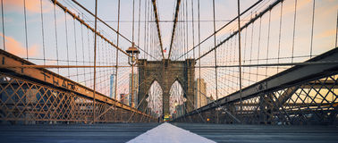 Panoramic view on Brooklyn Bridge Stock Images