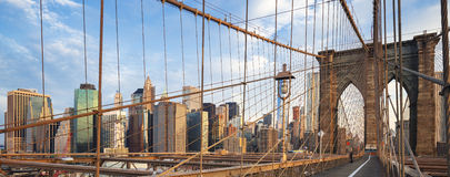 Panoramic view of Brooklyn Bridge Royalty Free Stock Images
