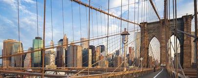 Panoramic view of Brooklyn Bridge Royalty Free Stock Images