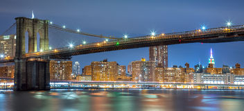 Panoramic view of Brooklyn Bridge at night with lights, New York Royalty Free Stock Photos