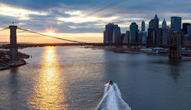 Panoramic View of Brooklyn Bridge Sunset in NYC Royalty Free Stock Image