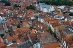 Panoramic view of Bruges. Royalty Free Stock Photos