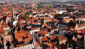 Panoramic view of Bruges from the tower, Belgium Stock Photos