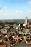 The panoramic view of Brugge Stock Images